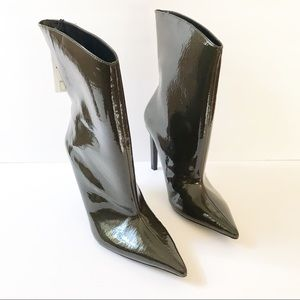 NWT Zara Green Patent Leather High Heel Ankle Boot